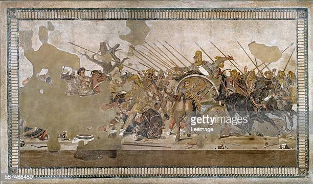 Battle of Issus between Alexander the Great and Darius III in 333 BC - Roman floor mosaic removed from the Casa del Fauno at Pompeii, 1rst century BC...