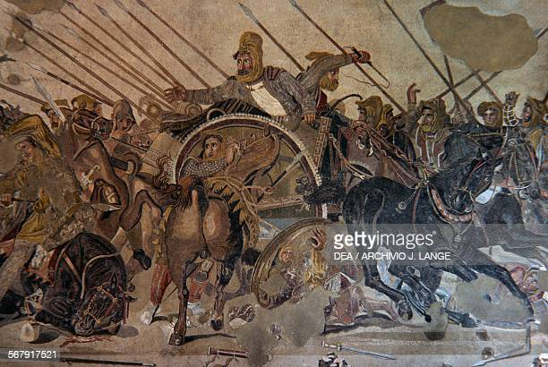 Battle of Issus detail depicting Darius III of Persia mosaic reproduction of a 4th century bC painting by Philoxenos of Eretria from the House of the...