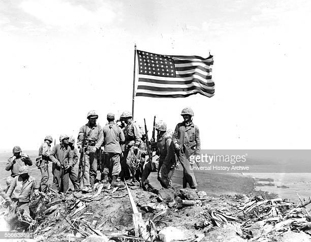 Battle of Iwo Jima Photo taken during flag raising on volcano top