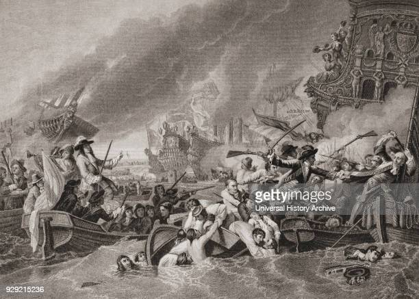 Battle of La Hougue or La Hogue between Anglo Dutch and French naval forces 1692 From English and Scottish History published 1882