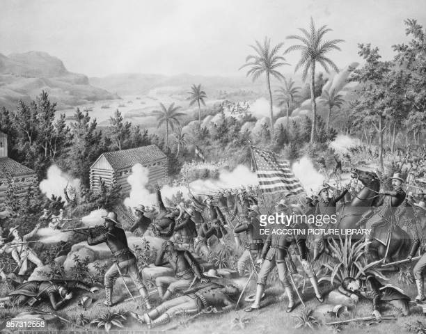 Battle of Las Guasimas June 24 SpanishAmerican war lithograph by Kurtz and Allison Cuba 19th century