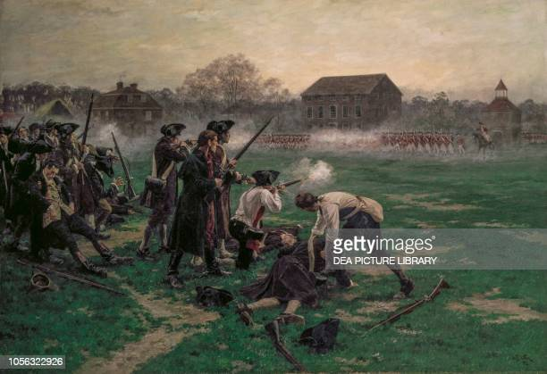 Battle of Lexington on April 19 American Revolutionary War United States of America 1910 painting by William Barnes Wollen