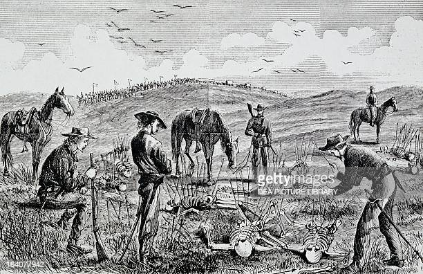 Battle of Little Big Horn discovery of the bodies of Lieutenant Kidder and ten men of the Seventh Cavalry engraving Indian wars United States 19th...