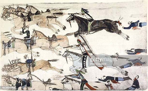 Battle of Little Bighorn Montana USA 2526 June 1876 Retreat of US 7th Cavalry battalions under Major Marcus Reno The Little Bighorn was a crushing...