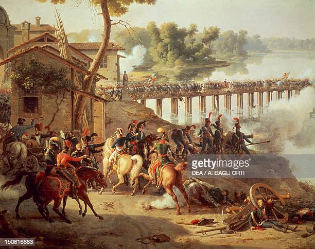 Battle of Lodi First Italian Campaign May 10 painting by Louis Francois Lejeune oil on canvas 185x240 cm Detail French Revolutionary Wars Italy 18th...
