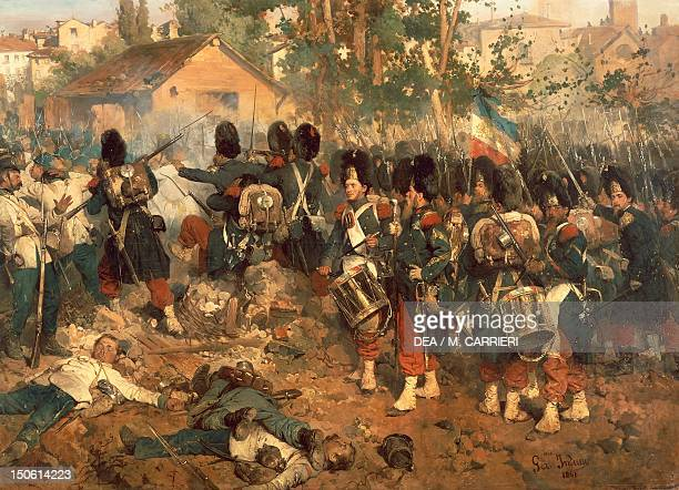 Battle of Magenta June 4 by Jerome Induno oil on canvas 208x364 cm Detail Second War of Independence Italy 19th century