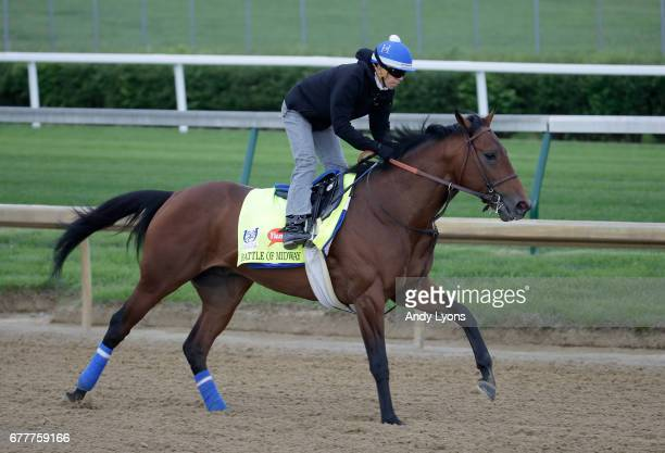 Battle of Midway runs on the track during the morning training for the Kentucky Derby at Churchill Downs on May 3 2017 in Louisville Kentucky