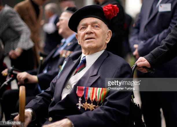 Battle of Monte Cassino veteran John Clarke MBE, aged 95, of Hertfordshire takes part in the Battle of Monte Cassino commemorative ceremony marking...