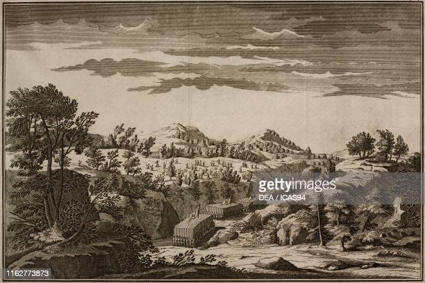 A gorge of Mount Labo B Antiochus' Infantry fighting in the gorge C Arsace's Infantry D Antiochus' Light Infantry taking over the hills engraving...