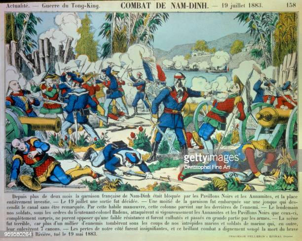 Battle of Nam Dinh on July 19 Tonkin War, Engraving, Private collection, Tonkin.
