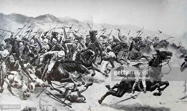 Battle of Omdurman in the Sudan on 2nd September 1898 MajorGeneral Kitchener destroyed a 52000 strong army of Muslim fanatics The 21st Lancers charge...