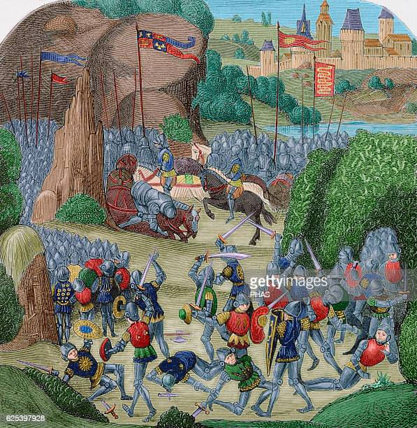 Battle of Otterburn August 5 1388 Fight on the border between the Scottish and English armies Les Chroniques of Jean Froissart Engraving of an...