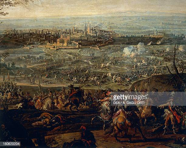 Battle of Pavia by Gherardo Poli , oil on canvas, 84x127 cm. Detail. Sixth War of Italy, Italy, 16th century.