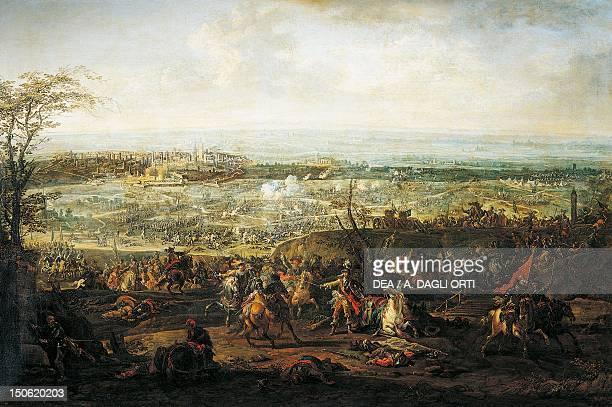 Battle of Pavia by Gherardo Poli , oil on canvas, 84x127 cm. Sixth War of Italy, Italy, 16th century.