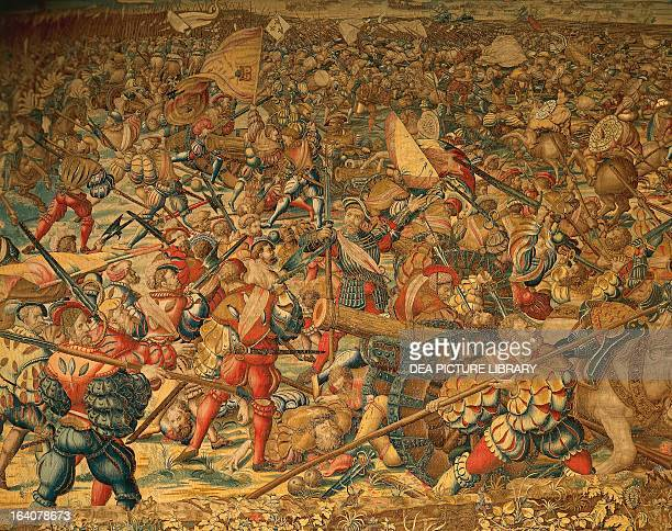 Battle of Pavia Charles V imperial troops attcking the French artillery February 24 Flemish tapestry based on tapestry cartoons by Bernaert van Orley...