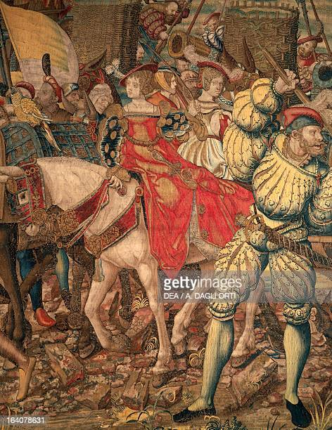 Battle of Pavia French invasion of the entrenched camp and escape the ladies in the wake of Francis I February 24 Flemish tapestry based on tapestry...
