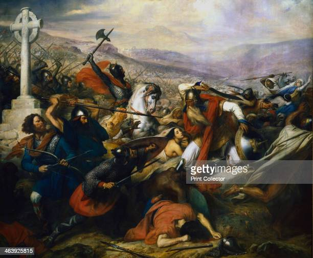 Battle of Poitiers France 732 The battle at which the Frankish king Charles Martel founder of the Carolingian dynasty and grandfather of Charlemagne...