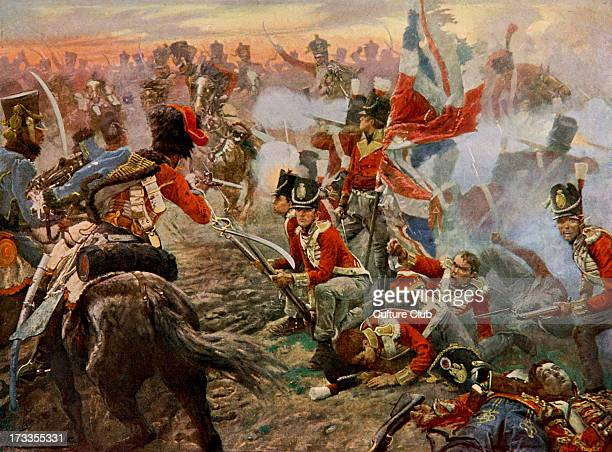 Battle of Quatre Bras from painting by Vereker battle between Wellington's AngloDutch army and the left wing of the French Armée du Nord under...