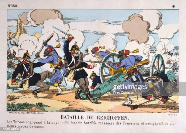 Battle of Reichshoffen FrancoPrussian war 6th August 1870 French infantry of an African regiment making a bayonet charge against a Prussian artillery...
