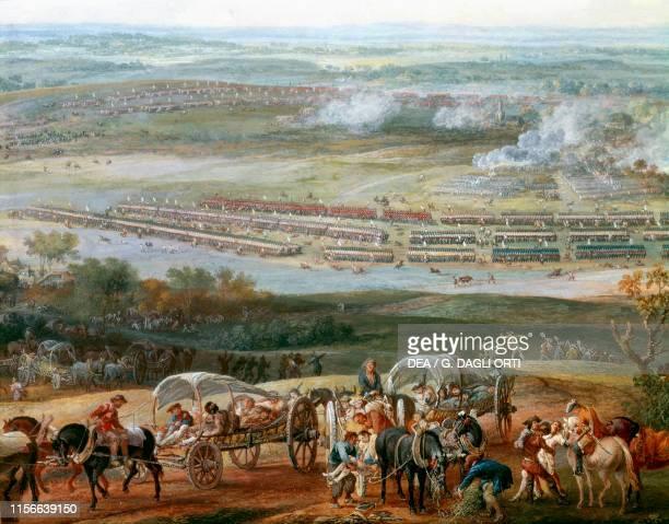 Battle of Roucoux or Rocourt Belgium, War of the Austrian Succession by Louis-Nicolas Van Blarenberghe, gouache on paper, 60x96 cm, 18th century....