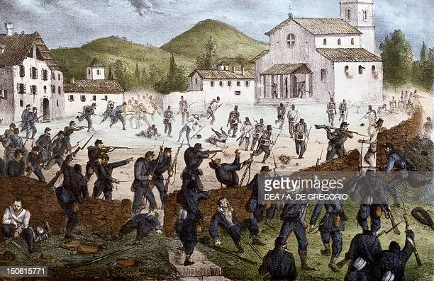 Battle of San Fermo at Como, May 27 engraving. Second War of Independence, Italy 19th century.