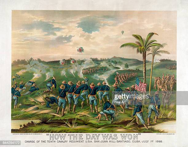 "Battle of San Juan Hill, print titled How the Day Was Won: Charge of the Tenth Cavalry Regiment U.S.A. San Juan Hill, Santiago, Cuba, July 1st 1898,""..."