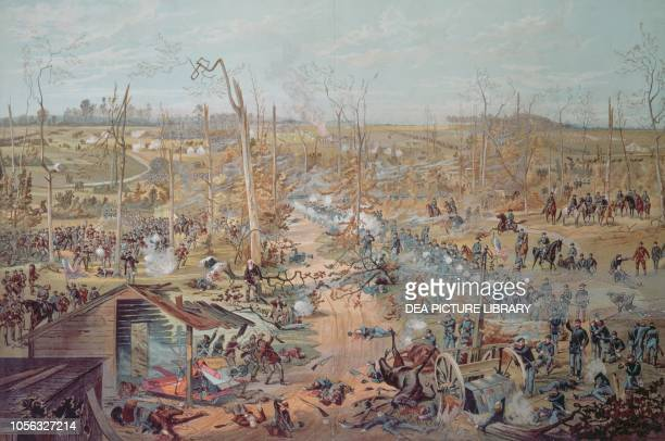 Battle of Shiloh April 6 United States of America American Civil War coloured engraving 19th century