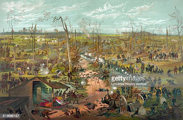 Battle of Shiloh April 6th 1862 A roadway possibly Corinth Road separating the Union forces under the command of General US Grant on the right and...