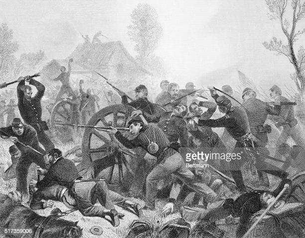 Battle of Shiloh Recapture of artillery by a portion of General Rousseau's Command Engraving after painting by Alonzo Chappel Undated illustration