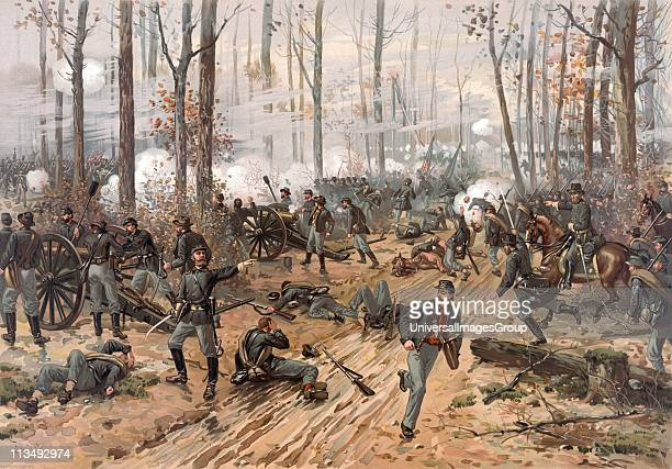 Battle of Shiloh Tennessee 67 April 1862 Major battle in American Civil War 18611865 Ulysses Grant directing his Union troops to victory against the...