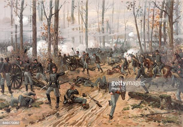 Battle of Shiloh Tennessee 67 April 1862 Major battle in American Civil War Ulysses S Grant directing his Union troops to victory against the...