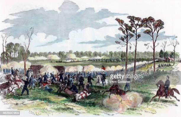 Battle of Shiloh Tennessee American Civil War 6 April 1862 Repulse of the Confederates at the peach orchard Union General Stephen A Hurlbut's...