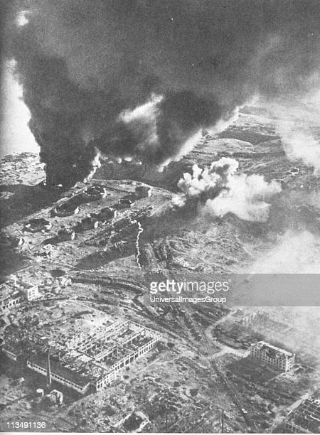 Battle of Stalingrad - Aerial view of fuel stores on fire. The Battle of Stalingrad between Germany and the Soviet Union lasted from 17 July 1942...