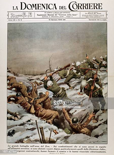 WAR Battle of Stalingrad River Don Front Fighting between Russian and German troops'La Domenica del Corriere' Cover 10 January 1943