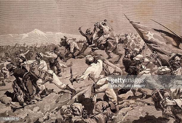 Battle of Tarapaca between Peruvian and Chilian troops November 27 engraving War of the Pacific Chile 19th century