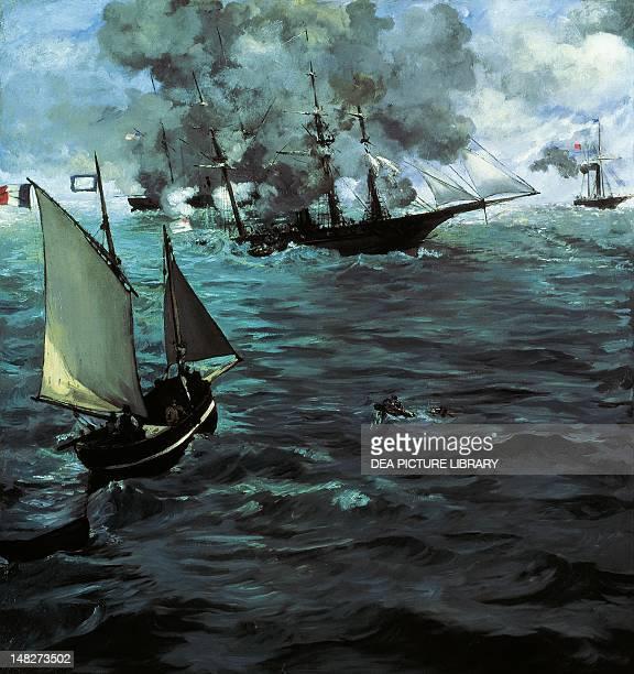 Battle of the Kearsarge and the Alabama by Edouard Manet oil on canvas 134x127 cm Philadelphia Philadelphia Museum Of Art