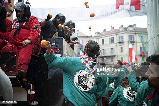 Battle of the Oranges at the Historical Carnival of Ivrea near Turin Italy on February 16 2015 During the event which marks the people's rebellion...