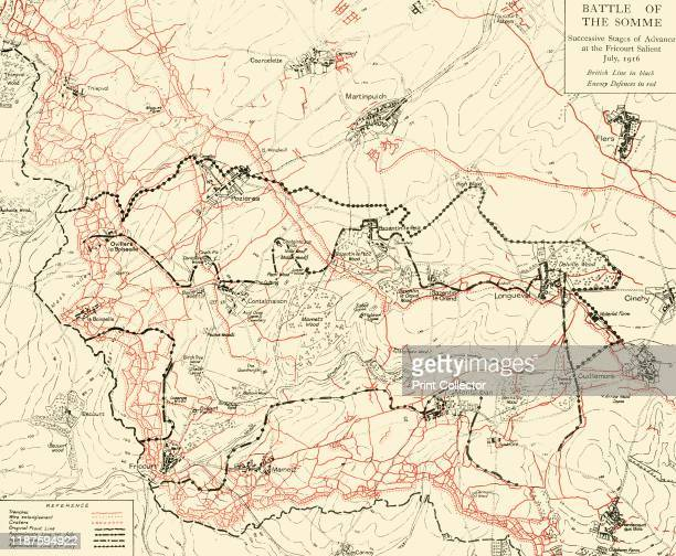 Battle of the Somme' First World War July 1916 Map of northern France showing 'Successive Stages of Advance at the Fricourt SalientBritish line in...
