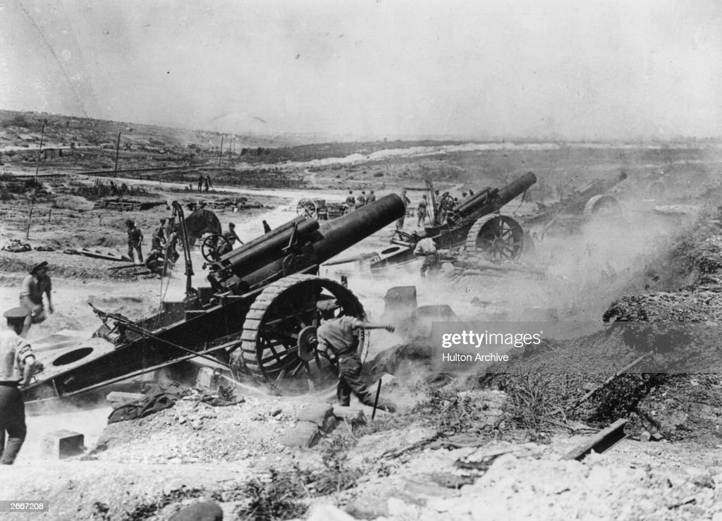Battle of the Somme, France. The 39th Siege Battery artillery in action in the Fricourt-Mametz Valley.