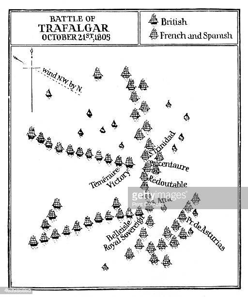 Battle of Trafalgar 1805 Map showing the battle between the British fleet under Nelson and the French and Spanish Trafalgar is regarded as Nelson's...