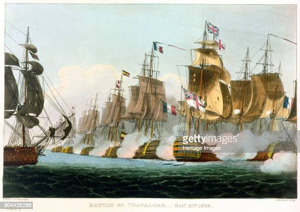 Battle of Trafalgar October 21st 1805 Scene from the famous naval battle in which Lord Nelson decisively defeated the Spanish and French fleet during...