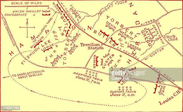 Battle of Travellian Station map American Civil War Battle fough as part of Ulysses S Grant's Overland Campaign against Confederate General Robert E...