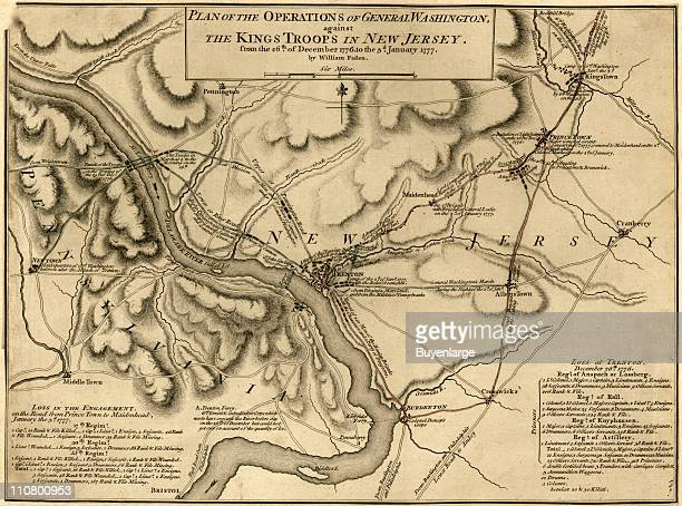 Battle of Trenton New Jersey late December or early January 1777 Illustrated by William Faden