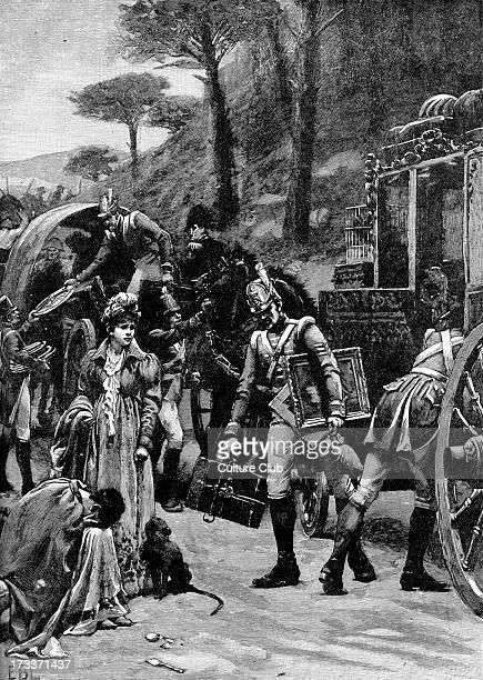 Battle of Vitoria Spain 21 June 1813 during Penisula War of the Napoleonic Wars King Joseph Bonaparte fleeing Vitoria Allied British Portuguese and...