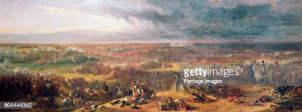 Battle of Waterloo 1815 On the right of the picture Napoleon and his staff watch the unfolding events on the battlefield from their position at La...