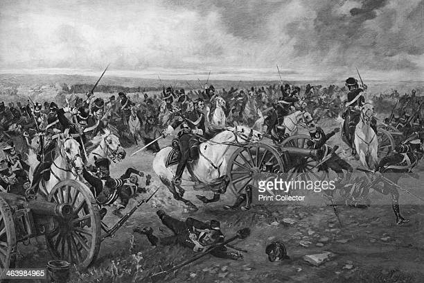 Battle of Waterloo, 1815. The Scots Greys under Major-General Sir William Ponsonby charge two batteries of French Artillery, after having taken the...
