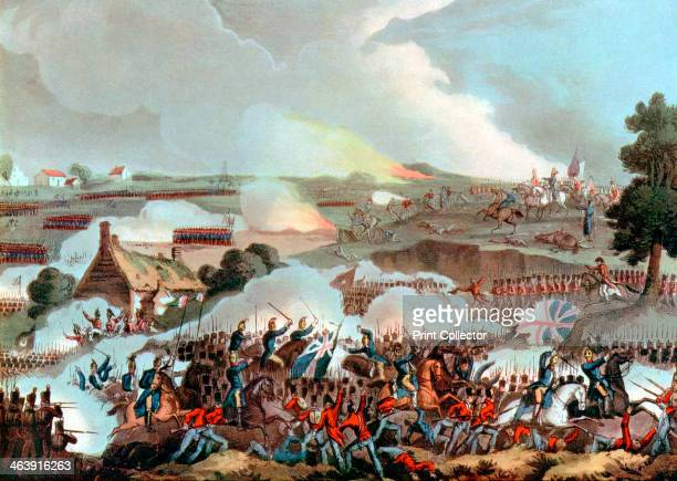 Battle of Waterloo, Belgium, 1815. The centre of the British army in action at Waterloo on 18 June 1815, withstanding a charge by the French cavalry....