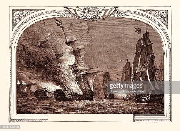 Battle Off Cabarela Point July 12th 1801 Destruction Of The Rea Carlos And San Hermenegildo James Saumarez 1st Baron De Saumarez Admiral Of The Royal...