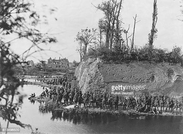 Battle ramparts at Ypres Belgium at the Western Front of the First World War In the first Battle of Ypres October 1914 German forces failed to reach...