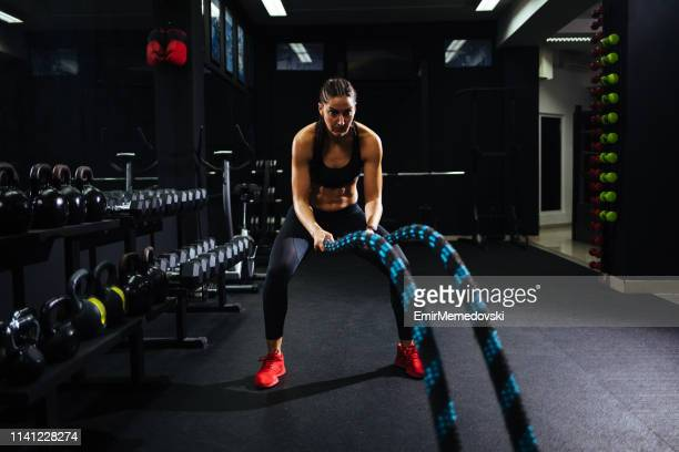 Battle ropes session at the gym